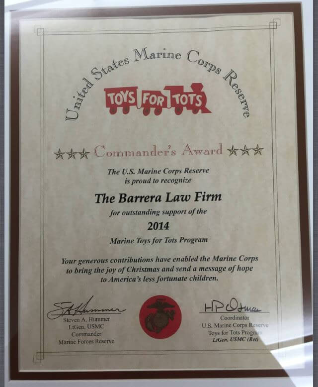 Toys For Tots Articles : Quot commander s award given to the barrera law firm