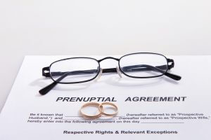 Image of a pre-nup agreement with his and hers wedding rings set on it showing whether there is protection or not